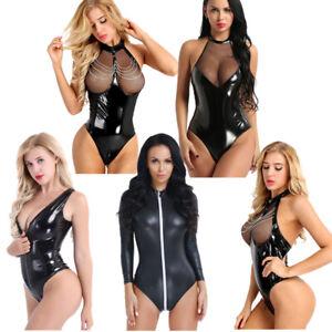 Womens-Halter-Shiny-Leather-Bodysuit-Leotard-Bodycon-Lingerie-Jumpsuit-Clubwear