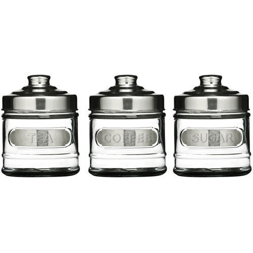 4016aadbdeac Set of 3 Tea Coffee & Sugar Kitchen Storage Glass Container Canisters Jars  Pots for sale online | eBay