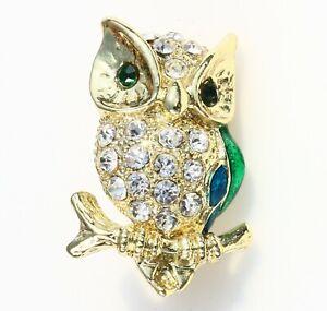 BROOCH-owl-on-a-branch-rhinestones-enamel-gold-tone-metal