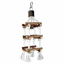 Birds Climbing Rope Tower Canaries Budgies Parrots Natural Wood Toy With Bell