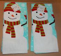 Christmas Kitchen Towels 2ea 16.5 X 26 Cotton 100% Shopko Snowman 89l