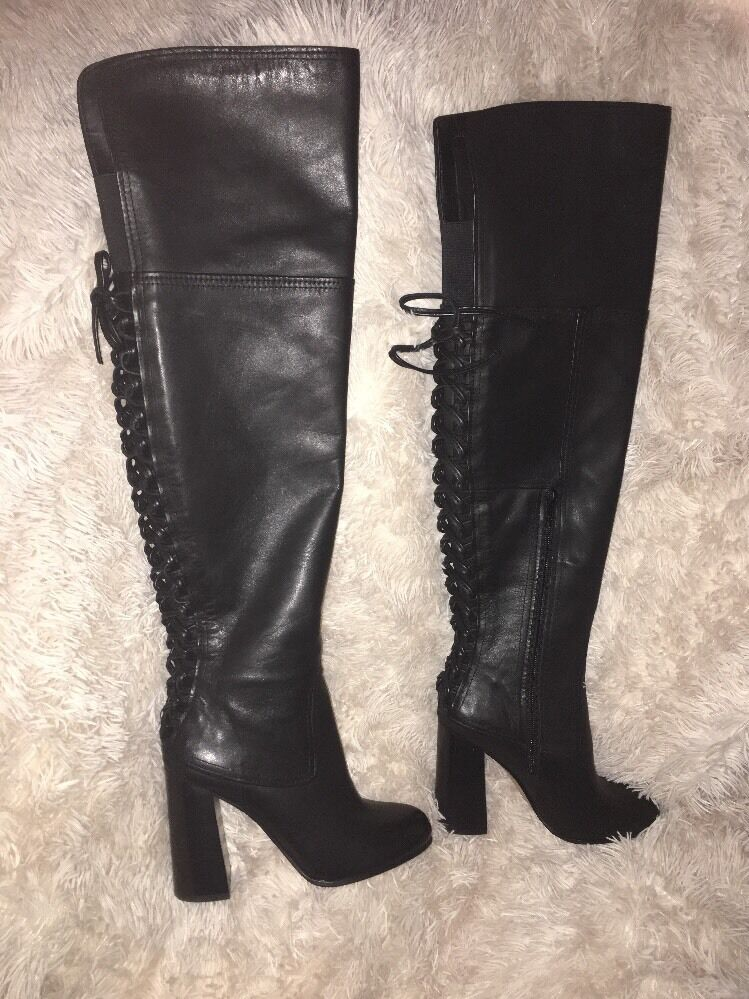 Vince Camuto Tolla Over-The-Knee back Lace Up Boots Black sz 7 new