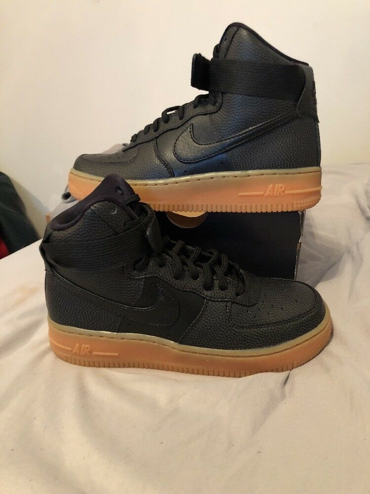 WOMEN'S NIKE AIR FORCE 1 HI SE BLACK SHOES SIZE 5.5 NEW WITH BOX 860544 002