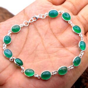 Green-Onyx-GEMSTONE-Bracelet-Solid-925-Sterling-Silver-Handmade-Jewelry-9-034