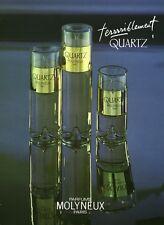 Publicité ancienne Parfum Terriblement Quartz Molyneux non parfumé