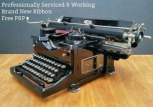 WORKING-amp-SERVICED-Royal-10-Vintage-Desk-Typewriter-Beveled-Glass-1930s-Black