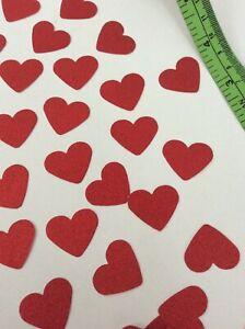 100 RED SCALLOPED HEARTS VALENTINES WEDDING TABLE CONFETTI DECORATIONS