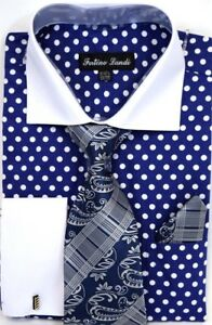 Men-039-s-Dress-Shirt-Tie-Hanky-Set-Blue-White-Polka-Dots-Cuff-Links-French-Cuff