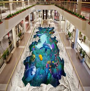 3D delfines rocas Piso impresión de parojo de papel pintado mural 43 5D AJ Wallpaper Reino Unido Limón