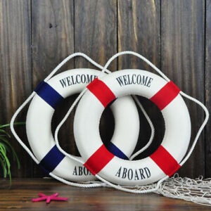 Lightweight-Seaside-Nautical-Wood-Life-Buoy-Flotation-Boat-Wall-Ring-Gift-Hot