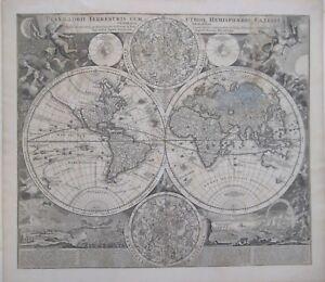 Original-1707-Homann-DOUBLE-HEMISPHERE-WORLD-MAP-California-as-Island-Windheads