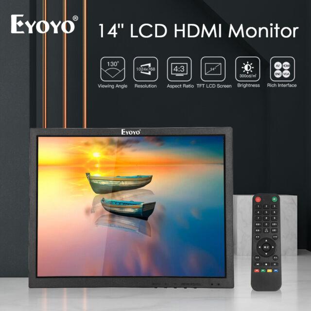 """Eyoyo 14"""" HDMI LCD Monitor VGA BNC AV USB Display Screen Gaming For Laptop DVD"""