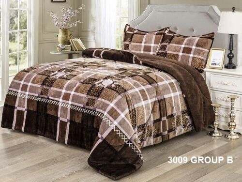 GEOMETRIC BROWN CAMILA BLANKET WITH SHERPA VERY SOFTY THICK AND WARM 3PCS QUEEN
