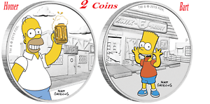2-Coin-Set-2019-The-Simpsons-Homer-amp-Bart-Simpson-1oz-1-Silver-99-99-Proof