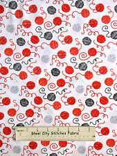 Knitting Crochet Yarn Balls On White Cotton Fabric Timeless Treasures C3353 YARD