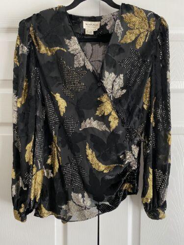 The Silk Farm Vintage Black Sheer Metalic Gold Sil
