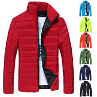 Mens Padded Jacket Coat Quilted Hooded Zip Neck Lined Casual Outwear Winter New