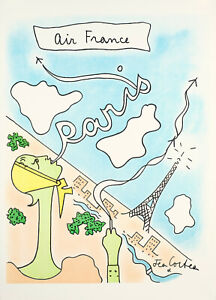 Original-Vintage-Poster-Jean-Cocteau-Air-France-Paris-France-C-1963