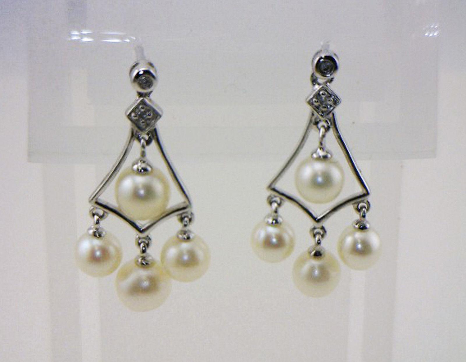 BEAUTIFUL WHITE PEARLS  DIAMOND ACCENT DANGLES 14K WHITE gold EARRINGS NIB  J118
