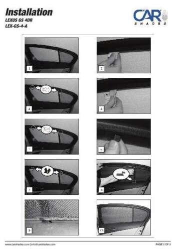 lunotto pannelli frontali posteriori Protezione solare LEXUS GS 4-PORTE anno 06-12