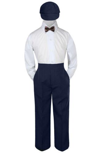 4pc Boys Suit Set Chocolate Brown Bow Tie Baby Toddler Kid Uniform Pants Hat S-7