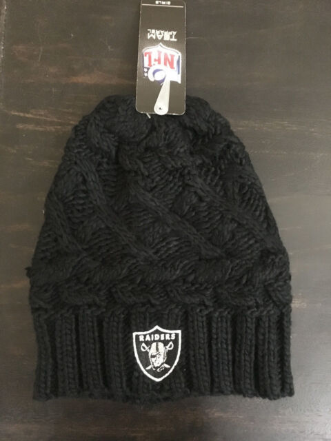 c2899169d56 Oakland Raiders Knit Beanie for GIRLS 7-16 - NFL Cap Knit Cable Rib Cuffless