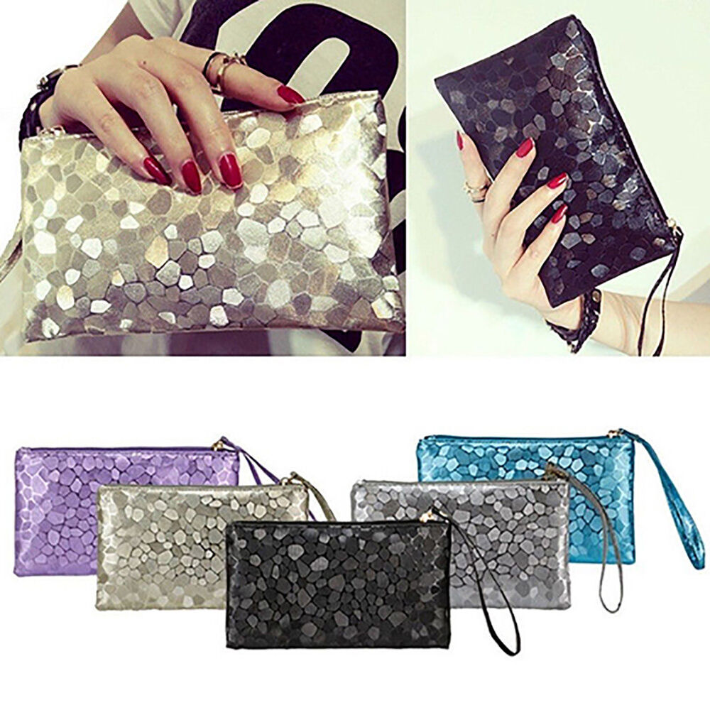 HK- Women's Glitter Faux Leather Wristlet Clutch Purse Toiletry Makeup Bag Splen Clothing, Shoes & Accessories