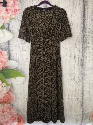 Size 10 Pretty Hurts Black Ditsy Floral Open Back Short Sleeve Midi Dress NWOT
