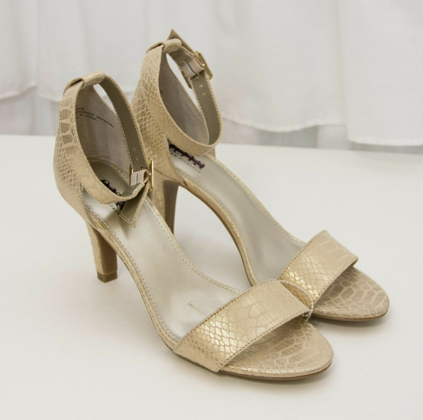 A.N.A Gold Metallic Animal Textured Heels Size 6.5 M Open Toe Dress Shoes NEW