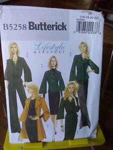 Oop-Lifestyle-Butterick-5258-misses-jacket-coat-skirt-pants-belt-sz-16-22-NEW