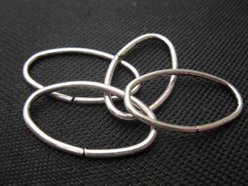 4 anillos de//bindering oval 18x12mm plateado perlas 6769