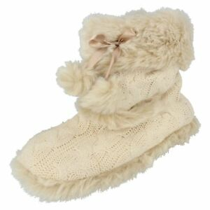 LADIES-CREAM-KNITTED-SLIP-ON-SLIPPER-BOOTS-BY-SPOT-on-Retail