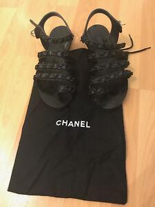 672adb76df8c Chanel 17C Black Chain Toe Ring CC Gladiator Strap Mule Slide Flat ...