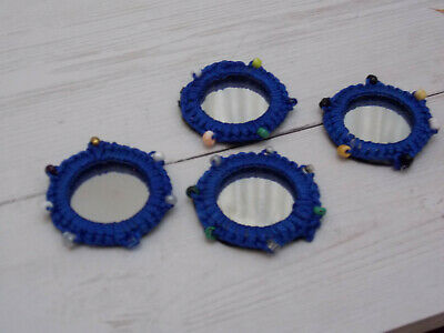 BLUE shisha craft mirror 4cm glue Sew on Applique Motif Patch trim