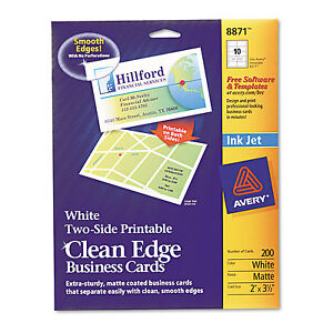 Avery true print clean edge business cards inkjet 2 x 3 1 for 200 business cards