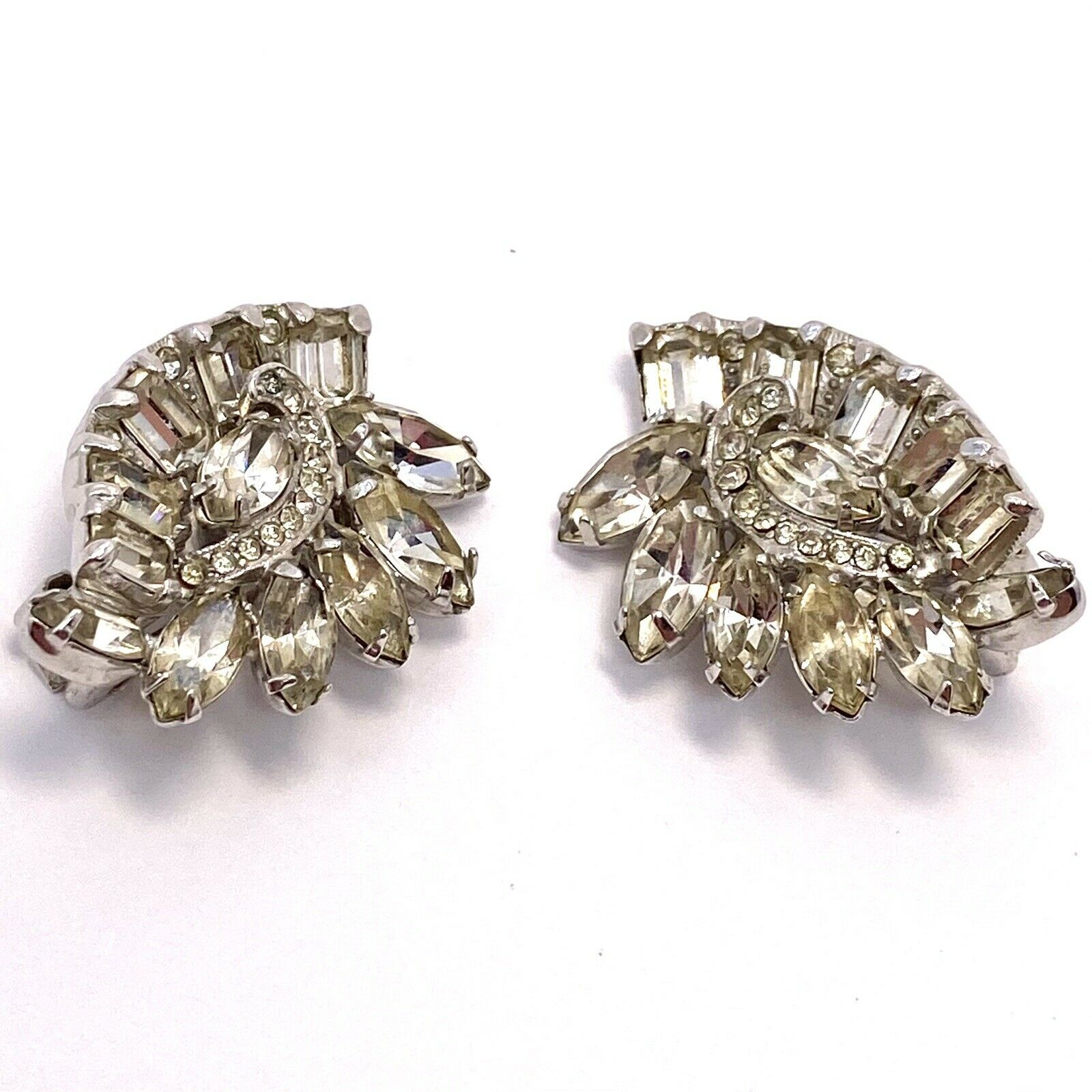 Vtg Eisenberg Rhinestone Cluster Clip Earrings - image 2
