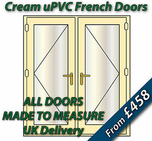 Cream upvc french doors ral 1379 brass handles gold for Cream french doors