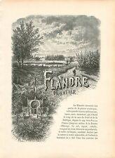 Flandre-Orientale Oost-Vlaanderen Plaine Cimbrique GRAVURE ANTIQUE PRINT 1880