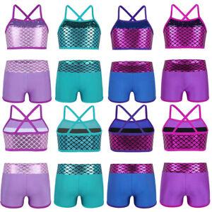 90c4b04cc 2Pcs Girls  039  Dance Sport Outfits Ballet Gym Workout Mermaid Crop ...