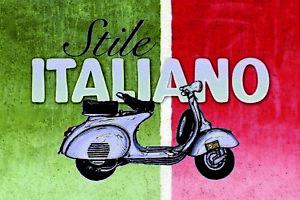 Stile-Italiano-Scooter-Panneau-Metallique-Plaque-Voute-Etain-Signer-20-X-30-CM