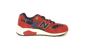 best sneakers 25284 fe234 Details about Sneakers NEW BALANCE donna 580 camoscio rosso inserti tessuto  tartan rosso/blu