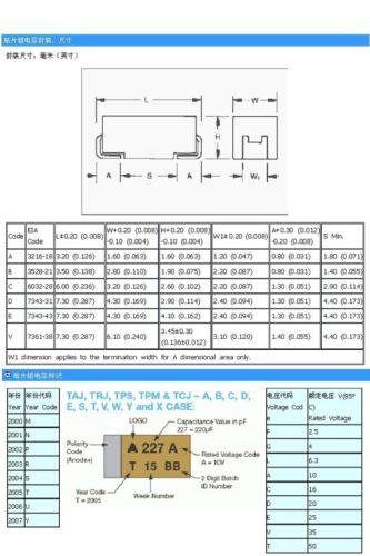 10PCS 10V 10UF A case 106A ±10/% 1206 SMD Tantalum Capacitors 3.2mm×1.6mm