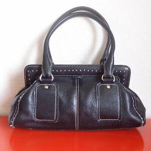 Ann-Taylor-LOFT-Genuine-Pebble-Leather-Black-Footed-Satchel-Bag-Purse-Topstitch