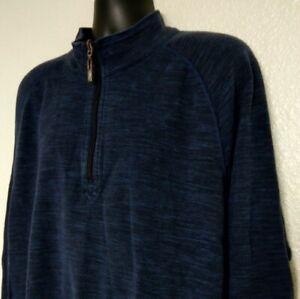 Tommy-Bahama-Jeans-Men-039-s-2XL-Pullover-Sweatshirt-Reversable-1-4-Zip-L-S-Blue-EUC