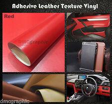 30x152cm Rojo De Cuero Textura Vinilo Adhesivo envolver Film Adhesivo Para Coches De Muebles