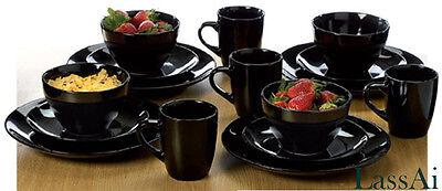 Modern Ebony Black Stoneware Dinner Set  (16 Pieces)