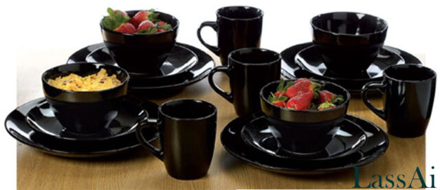 Modern Ebony Black Stoneware Dinner Set  (16 Pieces)