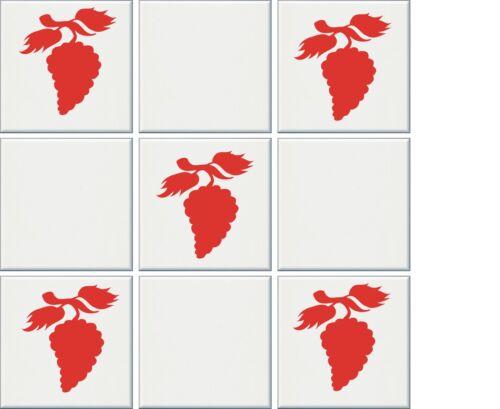 12 x 90 mm Carrelage Transferts Stickers raisins Contour Couper aucun fond