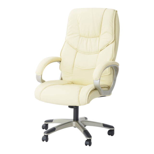 HOMCOM Leather Office Chair Computer Executive Adjustable High-back Swivel Beige