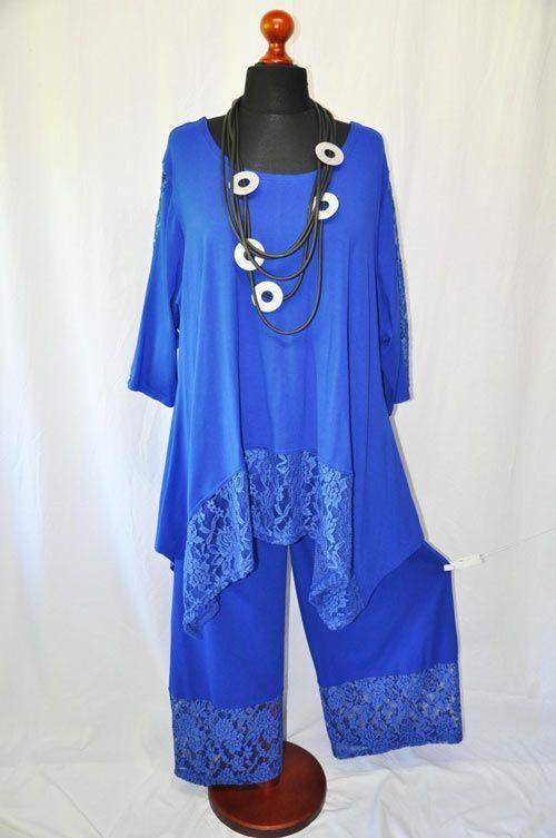 Lagenlook JERSEY Marlenehose mit Spitze - Ansatz ROYAL-blue XL,XXL,XXXL